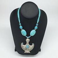 1pc, Turkmen Necklace Pendant Statement Tribal Drop Blue Turquoise Inlay, TN803