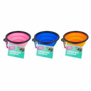 Collapsible portable pet bowl with hook - 12.5 x 3.5cm