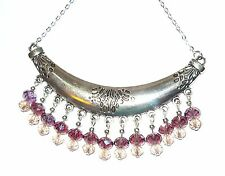 HANDCRAFTED UNIQUE STATEMENT COLLAR NECKLACE WITH PURPLE AND PINK DROPLETS