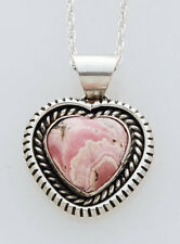 Heart Pendant with Chain Navajo Handmade Silver and Rhodochrosite