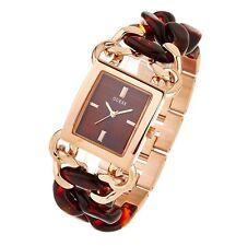 Guess Tortoise Chain rosé Kunststoff Gliederband moderne Damenarmbanduhr W0467L1