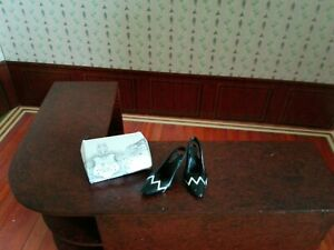 Dolls house Shoes and box. Designer