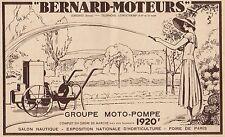 Y7125 Groupe Moto-Pompe BERNARD MOTEURS - Pubblicità d'epoca - 1935 Old advert