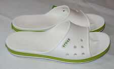 Crocs Crocband II Slide White Volt Green sandals unisex M7 W9 relaxed fit 204108