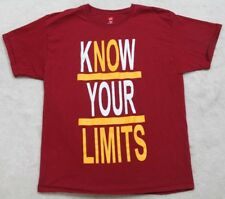 Hanes Tagless Know Your Limits Tee T-Shirt Cotton Top Short Sleeve Red Large Men