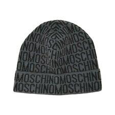 Moschino Monogram Logo Foldover Beanie Hat Grey Black