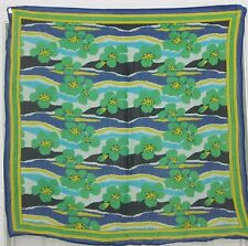 """TERRIART Green, Navy, Yellow Stripes, Flowers Rayon 34"""" Sq Scarf-Vintage"""