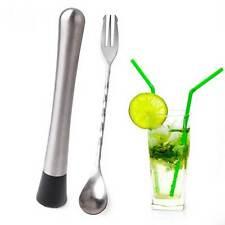 KIT 2in1 barista cocktail drink acciaio pestello+forchetta+cucchiaio miscelare