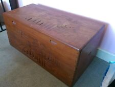 More details for chinese carved wood chest trunk ottoman toy box