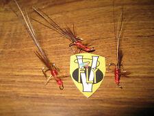 3 V Fly Taglia 12 RV firma Super Rosso FRANCIS Oro Treble Salmone Mosche