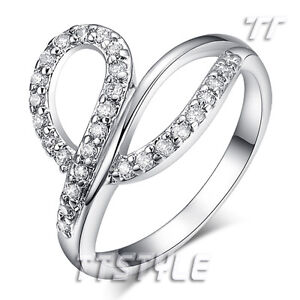 TT 18K White Gold Plated Womens Fashion Ring Size 5-8 (RF81)