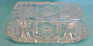Vintage EAPC EARLY AMERICAN PRESCUT Lidded Butter Dish ANCHOR HOCKING