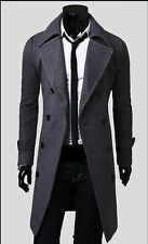 2018 Hot Men's Trench Coat Winter Mens Long Double Breasted Jacket Warm Overcoat