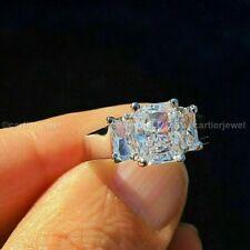 Diamond Engagement Ring 14K White Gold Certified 3.20 Ct Radiant Cut Three Stone