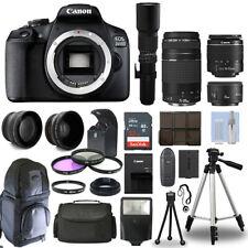 Canon EOS 2000D / T7 DSLR + 6 Lens 18-55mm, 75-300mm, 50mm, 500mm+ 32GB PRO KIT!