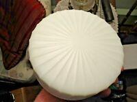 "vintage Milk Glass Ribbed Flush Ceiling Mount Round 6"" Shade - good shape - NR"