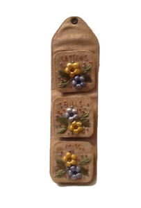 Wall Letter Mail Bill Holder Mid Century Woven Straw Burlap Flowers Vintage