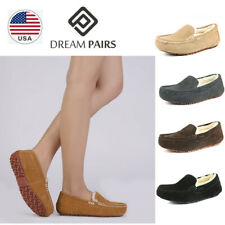 DREAM PAIRS Women Moccasin Suede Faux Fur Slippers Indoors/Outdoor Comfort Shoes