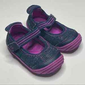 Stride Rite Surprize Petula Mary Jane Baby Walker Toddler Size 5 Navy Purple