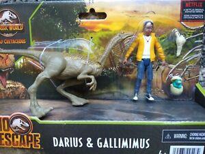 Jurassic World Darius + Gallimimus Dino Escape Camp Cretaceou Action Figure Set