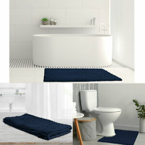 1600GSM Toggle Microfiber Bath Mat with Non-Slip Back Navy