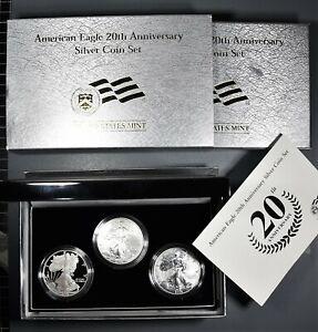 2006 $1 AMERICAN EAGLE 20th ANNIVERSARY SILVER (3-COIN) SET, COA & OMP  SKU-2958