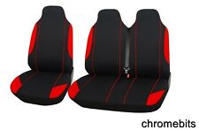 2+1 rouge Comfort tissu Housse de siège / selle pour Renault Trafic, Master Van
