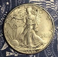 1945 WALKING LIBERTY SILVER HALF DOLLAR. COLLECTOR COIN. FREE SHIPPING