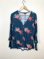 Stitch Fix Mix 41hawthorn Womens Large L Floral Faux Wrap Top Tie Sleeve NEW