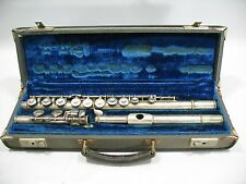 vtg Antique RENE DUVAL Flute with Case Made in Italy Serial #3348 Silver Plated