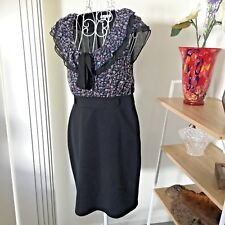 Ladies Dress Sz 10 (-12) Floral/Black Valleygirl Cap Sleeves VGUC