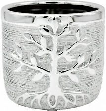 TREE OF LIFE SILVER MEDIUM PLANT POT PLANTER