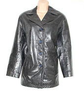 Black 100% Real Leather STUDIO Button Hip Length Ladies Jacket Coat Size M L