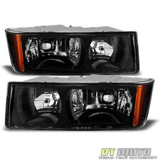 Blk 2002-2006 Chevy Avalanche 1500 2500 With Body Cladding Headlights Left+Right