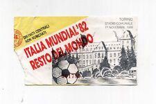Biglietto Ticket ITALIA MUNDIAL 82 - RESTO DEL MONDO Torino Stadio 1/11/1988