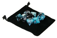 New Chessex Polyhedral Dice Set with Bag Black Shell Gemini 7 Piece Set DnD RPG