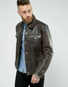 Levi's Buffalo Leather Trucker Jacket Buff Rustic Size: Medium RRP £320