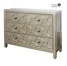 Contemporary gold 6 drawer chest of drawers with raised pattern
