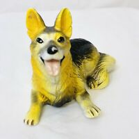 "Vintage New-Ray Soft Rubber German Shepherd Dog Toy Figure 2 1/4"" Tall"