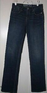 Gap Kids Girl's 1969 Straight Leg Dark Blue Distressed Denim Jeans Size 14