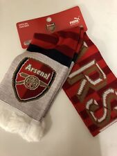 Arsenal FC Puma Official Logo & Letters Winter Red/Gold Knit Scarf