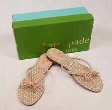7a3185453b9f9b Kate Spade Flip Flops Mistic Beige Leather Bow Charm Sandals Womens 9