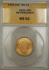 1925 Netherlands 10G Gulden Gold Coin ANACS MS-62