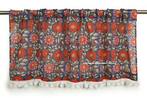 Indian Handmade Kitchen Curtain Cotton Window Curtain Valance Tassel Panel Decor