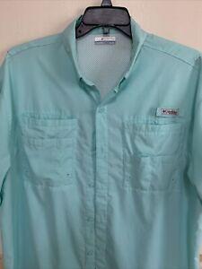 Columbia Mens PFG Tamiami Shirt Vented Fishing Camp Light Blue Short Sleeve Sz L