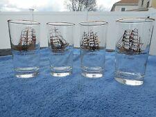 LIBBEY Gold SHIP Beverage Bar GLASSES 1950'S Historic Nautical Schooners 4pc Set