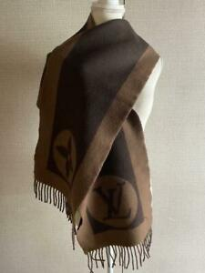 Louis Vuitton Women's Scarf Wool Brown Monogram Authentic Used Condition m728