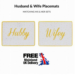 Husband Wife Gold Spotted Table Placemat Set COUPLE DINING WASHABLE MAT WEDDING