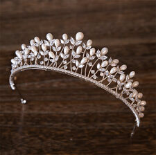 Princess Crown Rhinestone Tiara Wedding Bridal Freshwater pearl Hair Accessories