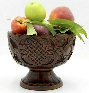 Handmade Walnut Wood Carved Bowl, Wooden Bowl, Armenian Bowl, fruit carved vase